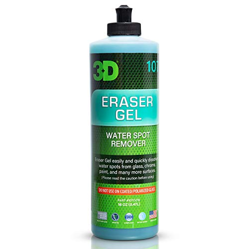 3D Eraser Gel Hard Water Stain Remover - 16 oz - Hard Water Spot Remover for Cars, Glass, and Paint - All Natural Shower Door Cleaner - Cleans Mirrors, Windows, Chrome Surfaces, and More