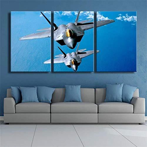 DDSDA Avión Militar F-22 en el Cielo Azul Cuadro Paneles múltiples Tríptico 3 Piezas impresión en Lienzo Listo Colgar Impresiones Fotos sobre Lienzo Modernos Cartel Decoración