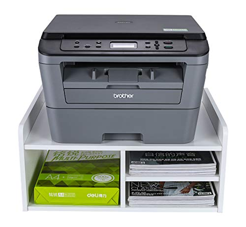 EasyPAG Desktop Wood 2 Tier Printer Stand/Fax Shelf, Office Supplies Organiser A4 Paper Holder,White,508x380x230mm