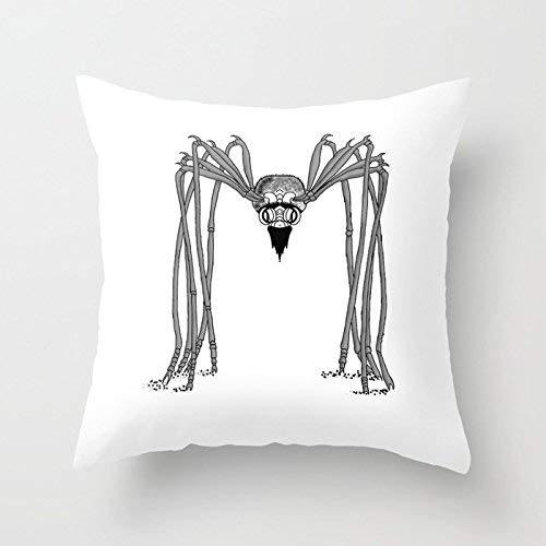 N\A Fundas de Almohada Decorativas en Blanco y Negro de araña aterradora para el hogar Fundas de cojín cómodas y amigables para el Interior estándar