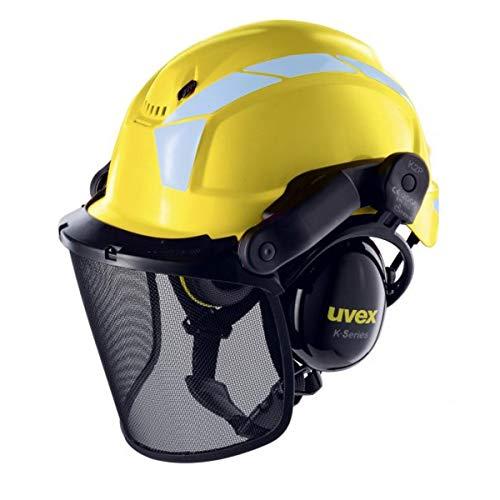 Uvex Pheos Forestry - Forsthelm mit Gehör- und Gesichtsschutz - SNR: 30dB, Farbe:Gelb