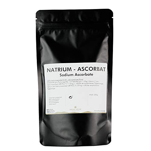 Royal Spice Natriumascorbat E301-250g - Vegan, laktose- und glutenfreies Natrium Ascorbat/Sodium Ascorbate Antioxidationsmittel E301