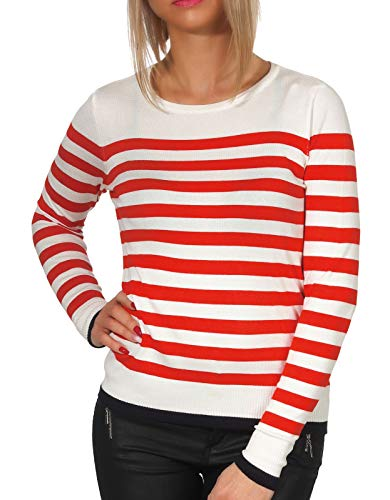 Vero Moda Vmdoss Lacole LS O-Neck Blouse Boo suéter, Blanco (Snow White Stripes: W. Fiery Red and Night Sky Contrast), 44 (Talla del Fabricante: X-Large) para Mujer