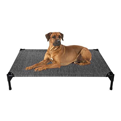 Veehoo Kühl Erhöhte Hundebett, Hundeliege Outdoor für Grosse Hunde, aus Waschbar & Dauerhaft Textilene Netzstoff, L, Schwarzes Silber