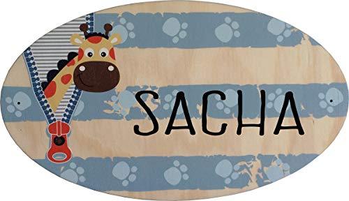 Plaque de Porte en bois personnalisée pour une Chambre d'enfant Sophie Girafe - Le prénom de la plaque en bois est personnalisable - cadeau de naissance personnalisé bébé Décoration