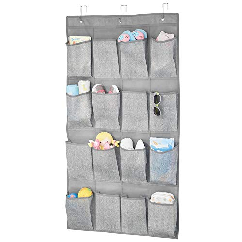mDesign Hanging Wardrobe Organiser with 16 Pockets — Bedroom Storage Solution for Shoes, Clothes, Toys and More — Hanging Shelves for Children's Bedroom, Nursery or Playroom — Grey