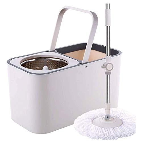 SHIJIAN Giro Fregona y compartimiento - Mano-Libre Escurrir la limpieza del piso Fregona - 6 lavable y reutilizable mopa de microfibra Jefes Incluido - húmedo o seco de uso en la madera dura, laminado