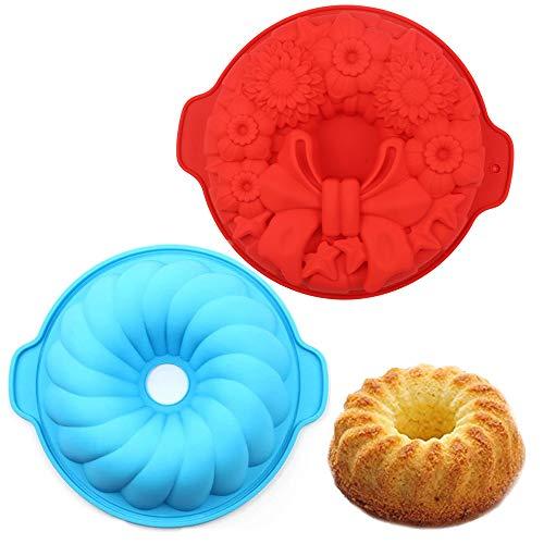 Juego de 2 moldes de silicona redondos para tartas, Capas de Pastel Moldes Redondos de Silicona Cake Pan Hornear Molde Placa de Pizza DIY Molde Herramientas Redondas