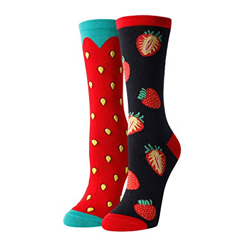 HAPPYPOP Women's Strawberry Mismatched Socks for Dress or Casual, Novelty Fruit Socks Gifts for Fruit Lover