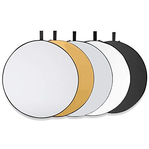 Tonsooze Rund Reflektor Set Tragbarer Faltbarer, 5-in-1 80cm Faltreflektor Translucent, Silber, Gold, Weiß und Schwarz für Fotografie Fotostudio Beleuchtung und Außenbeleuchtung