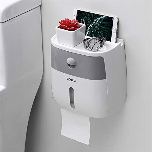 Estante de pared de baño, sin uñas, duradero Tenedor de papel higiénico impermeable Toallas de Papel Plástico Topes de Toallas Montado en pared Caja de almacenamiento de estantes portátil Tapa de roll