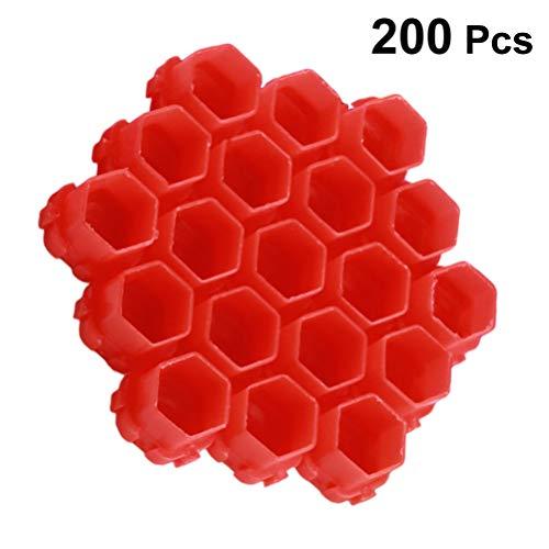 HEALLILY 200 Pcs Tatouage Encre Casquettes en Plastique Tasses d'encre Permanent Cils Maquillage Sourcils Tatouage Tatouage Pigment Conteneur (Rouge)
