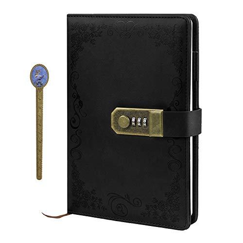 Retro Vintage Tagebuch A5 PU Leder Zahlenschloss Notizbuch Journal Notizblock Planer Organizer Kartenfächer Skizzenbuch mit Kombinationsschloss 200 Seiten