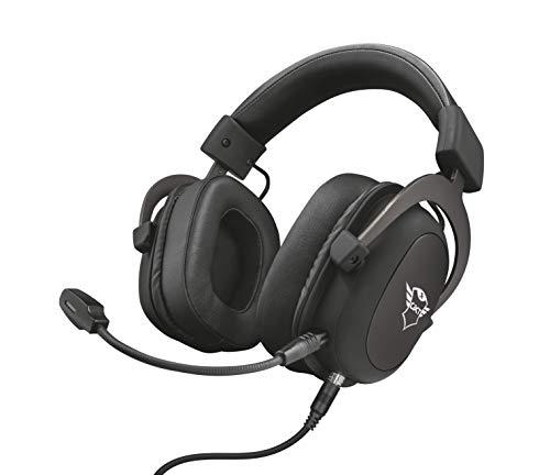 Trust Cascos Gaming GXT 414 Zamak Auriculares Gamer con Micrófono Extraíble y Flexible y Diadema Ajustable, Cable Trenzado de 1 m, para PS4, PS5, PC, Nintendo Switch, Xbox One, Xbox Series X - Negro