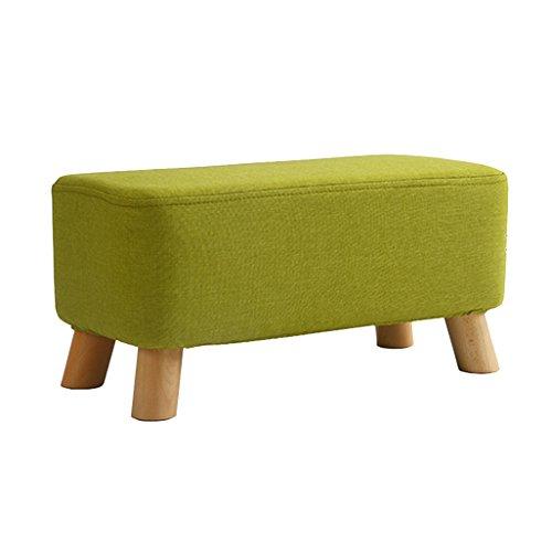 Tabouret de changement Tabouret de chaussure Pouf en bois Pouf en bois anti-poussière Chaise de siège Coussin de siège en tissu en lin vert pour Couloir   Longueur du salon: 56cm