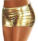 Legisdream Pantaloncino Shorts da Donna Colore Oro Metallizzato Taglia Unica Capo Abbigliamento per Serate Disco Capodanno Natale Feste in Spiaggia