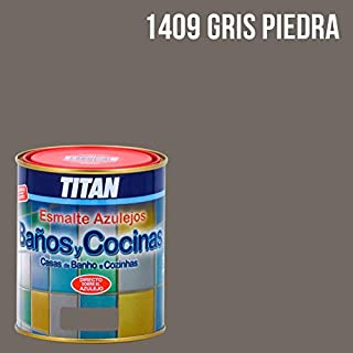 Pintura para azulejos baños y cocinas Titan - 750 mL, Gris Piedra 1409