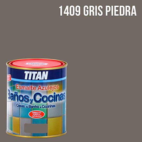 Pintura para azulejos baños y cocinas Titan - 750 mL, Gris Piedra...