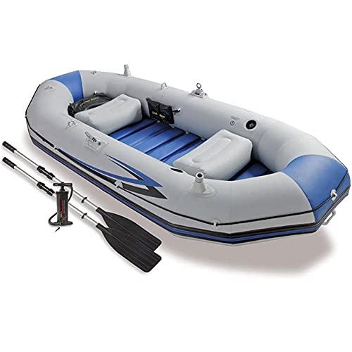 QSKL Canoa Inflable del Barco del Kayak para 3 Personas; Kayak Inflable con Paleta de Cuerda de Bomba de Aire para niños Adultos, Barco de Pesca portátil