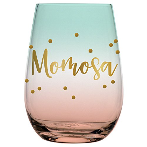 Creative Brands Slant Collections Stemless Wine Glass, 20-Ounce, Momosa