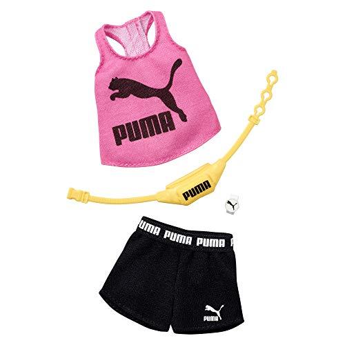 Barbie Clothes: Puma vestito bambola con 2 accessori, set di pantaloncini multicolore, modello: GHX79