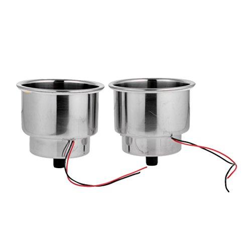 H HILABEE 2Pcs Edelstahl Einbauschrank Getränk Halter U. LED Für Boots Camper LKW Auto