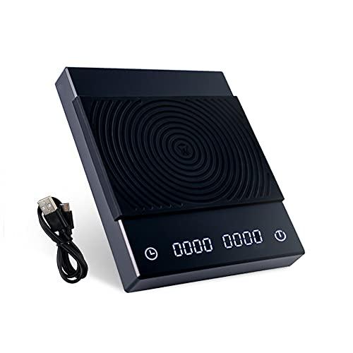 TIMEMORE Báscula digital de café con temporizador, 2000 gramos, color negro