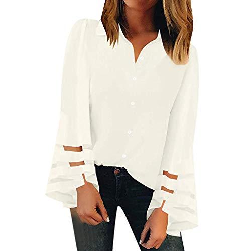 Damen Sommer Herbst T-Shirt V-Ausschnitt Lange Ärmel Hemd Lose Beiläufige Frauen Sexy Gradient Neck Mesh Bedruckt Stretch Weste Shirt Baumwolle Polyester Große Lose Bluse Tops (EU:36, Weiß)