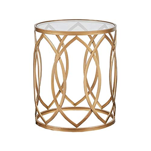 QULONG Side Table, Metal Barrel End Table, Modern Style End Tables, for Living Room Round Side Table, Black/Golden Accent Table,Gold