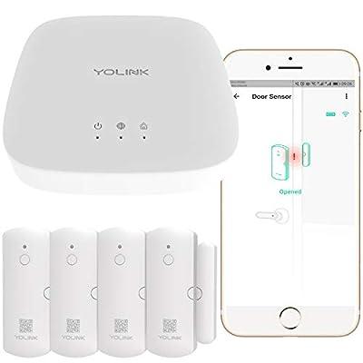 Smart Door Sensors, 1/4 Mile World's Longest Range Wireless Window Door Sensor Work with Alexa IFTTT, Smartphone Monitor APP Alerts Open Reminder Smart Home Security Kit, 4 Packs, YoLink Hub Included
