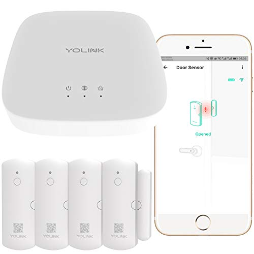 Smart Door Sensors, 1/4 Mile World's Longest Range Wireless Window Door Sensor Works with Alexa IFTTT, Smartphone Monitor App Alerts Open Reminder Smart Home Security Kit, 4 Packs, YoLink Hub Included