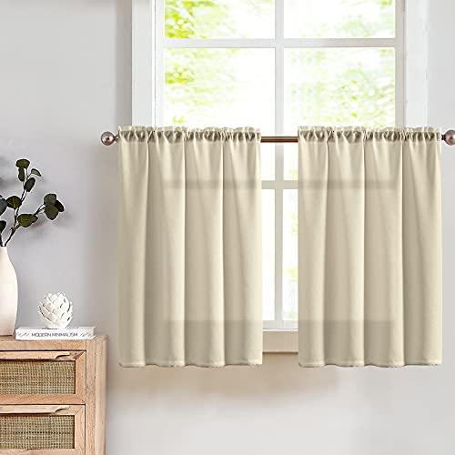 TOPICK Visillo Bistro Sheer cortina ventana semitransparente para cocina salón casa rural 2 unidades 90 cm x (cm) marrón claro