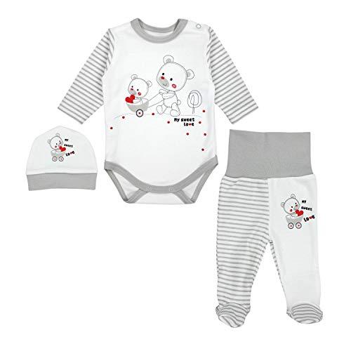 TupTam Baby Unisex Bekleidungsset mit Aufdruck 3 TLG, Farbe: Streifenmuster Grau/Bärchen Herz, Größe: 62