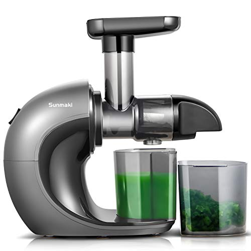 Juicer Machines,Sunmaki Slow Masticating Juicer Extractor,Cold Press Juicer with Quiet Motor & Reverse Function, Easy to Clean with Brush, High Juice Yield and Drier Pulp for Vegetables and Fruits