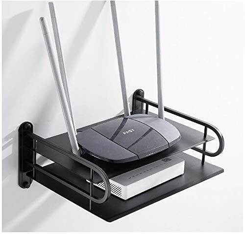 JanTeelGO DVD supporto da parete con mensola, Alluminio lega supporto da parete con mensola/supporto/supporto per TV box, Roku 3/2, router, set-top box, mini PC, accessori per TV (2 ripiani, Nero)