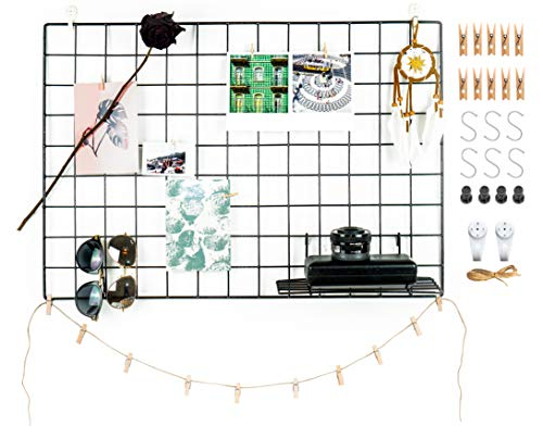 Rejilla de hierro para colgar fotos en color blanco, negro y oro rosa, para tablón de notas, pared, organizador de fotos