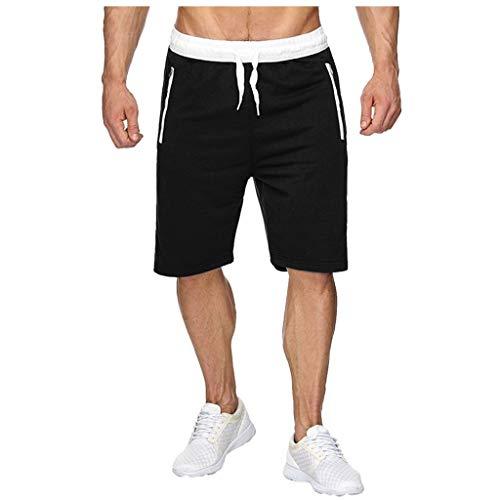 ღLILICATღ Pantalones Cortos Deportivos para Hombre, Pantalones de Hombre con Cordón y Cremallera para Los Bolsillos