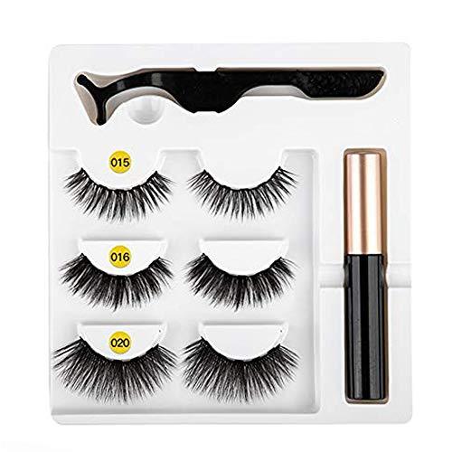 Eyeliner magnétique Kit de faux cils facile à porter Eyeliner liquide à séchage rapide Eyeliner magnétique de faux cils Eyeliner liquide magnétique Eyeliner liquide Faux Cils Jeu de pincettes # Mix 15