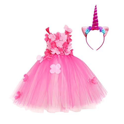 Fenical Baby Mädchen Blütenblatt Prinzessin Kleid und Rosy Einhorn Kopfbedeckung Set Sommer Geburtstag Sleeveless Tüll Set Mädchen für 2 Jahre (Rosa)