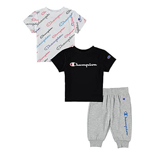 Champion Sets Baby Boy Newborn Two Tees and Fleece Pant 3 Piece Set Baby Clothes (White AOP SS/Black SS/ Oxford Heather Fleece, 3-6 Months, 6_months)