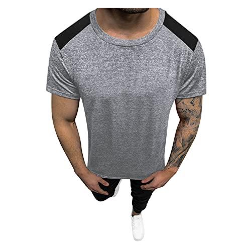 Herren T-Shirt Rundhals Ausschnitt Slim Fit Baumwolle-Anteil Cooles Männer T-Shirt Crew Neck Jungen Kurzarmshirt O-Neck Kurzarm Sleeve Top Lang