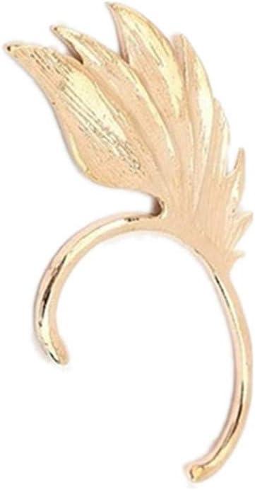 SONGLIN Gold Feather Wing Ear Clip Jewelry Accessories Punk Chain Ear Cuff Wings Ear Hook Earrings