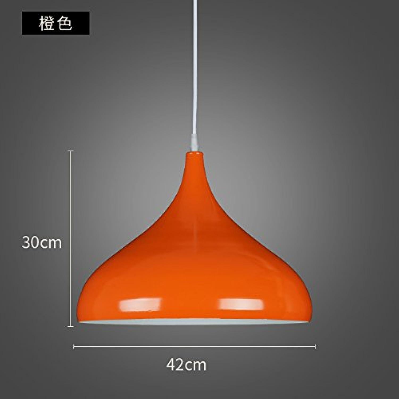 Luckyfree Moderne, einfache Single Head Bar runden Farbton Pendelleuchte Zimmer Bar Cafe Restaurant Küche Flur Lampen Deckenleuchte Kronleuchter, Farbe Orange (Durchmesser 42 cm)