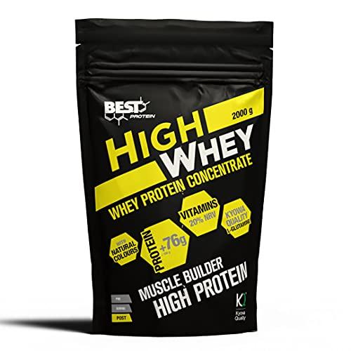 Best Protein High Whey. Proteína en polvo con Glutamina y Aminoácidos Naturales. 2000 gr (Chocolate)