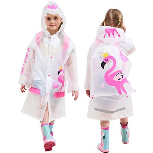 Bambini Impermeabile Giacche da Pioggia Incappucciato Mantella Antipioggia Ragazzi Ragazze Cappotto di Pioggia Riutilizzabile Poncho, Fenicottero
