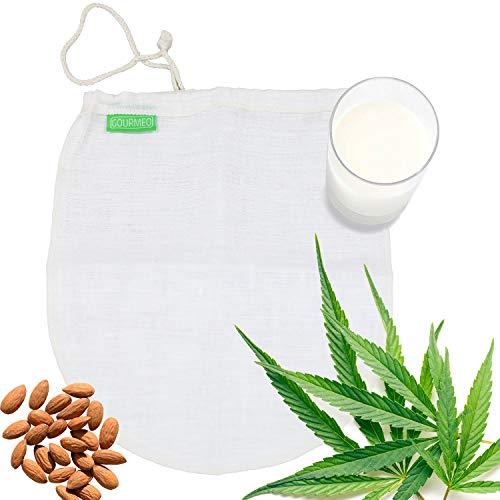 GOURMEO Bolsa de Leche de Nuez - Hecho de Fibra de cáñamo Natural - para Leche Vegana Leche de nueces y Leche de Avellana, Filtro Malla
