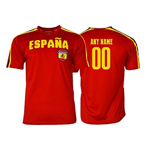 Pana Spain Soccer Jersey Flag España Adult Training World Cup Custom Name and Number (Custom Name ADDS, YXL)