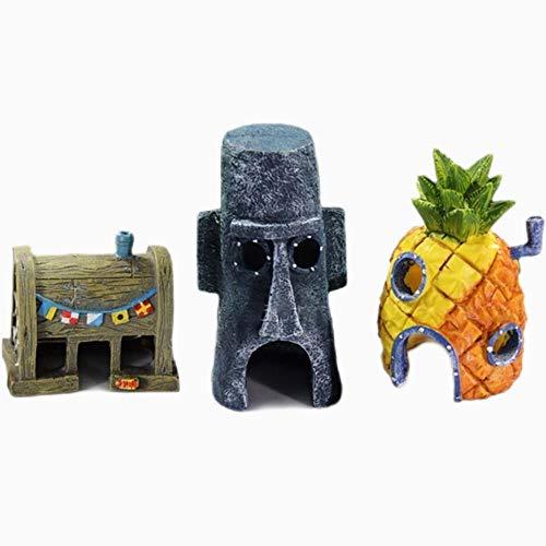 Sculpture Figurine Ornament Cartoon Aquarium Ornament Animation Patrick Star Fish Tank House Decoration Pineapple House Krusty Krab Fish Hiding Cave Decor