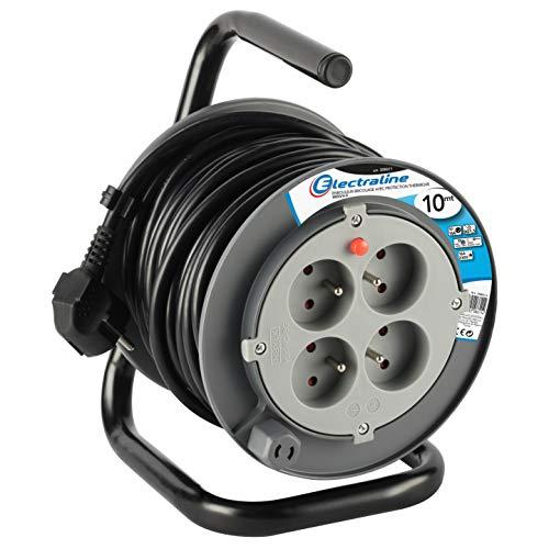 Electraline 208611 Rallonge Prolongateur électrique 10 m avec enrouleur 4 Prises 16 A section 3G1,5 mm² Gris