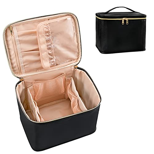 Travel Makeup Bag, Cosmetic Bags for Women Makeup Case Organizer Large Capacity Travel Toiletry Bag Storage Bags with Divider and Handle for Cosmetics Toiletries Brushes Tools-Large, Black